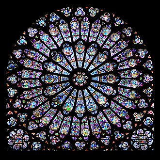 Plasmon - Gothic stained glass rose window of Notre-Dame de Paris. Some colors were achieved by colloids of gold nano-particles.