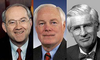 Gramm–Leach–Bliley Act - Sen. Phil Gramm (R, Texas), Rep. Jim Leach (R, Iowa), and Rep. Thomas J. Bliley, Jr. (R, Virginia), the co-sponsors of the Gramm–Leach–Bliley Act.