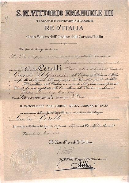 File:Grand Ufficiale dell'Ordine della Corona d'Italia 25mar1926.jpg