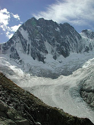 Riccardo Cassin - The north face of the Grandes Jorasses. The Walker Spur is the buttress (centre left) leading to the highest summit.