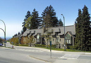 Green College, University of British Columbia - Green College residential buildings seen from the south. APEC protest banners were hung here in November, 1997.