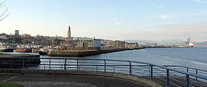 Greenock waterfront from Victoria Harbour to Ocean Terminal, the skyline dominated by Victoria Tower.