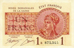 Saar franc - 1-franc note of the Saar coal mine administration, 1920s