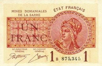 Saar franc - 1-franc note of the Saar coal mine administration, 1920s
