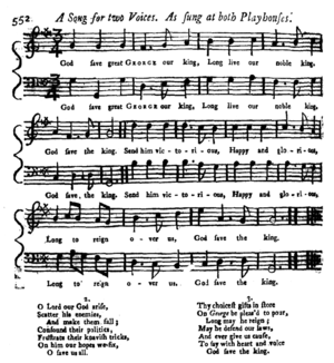 "God Save the Queen - Publication of an early version in The Gentleman's Magazine, 15 October 1745. The title, on the contents page, is given as ""God save our lord the king: A new song set for two voices""."