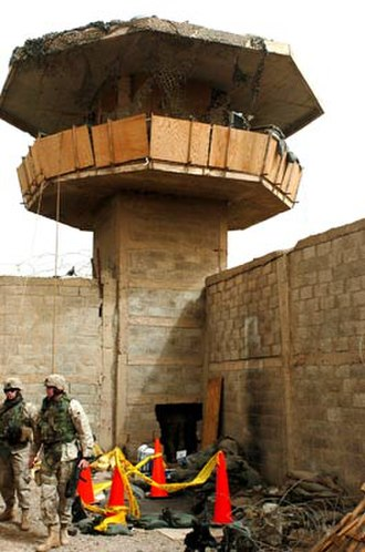 Battle of Abu Ghraib - Damage done to the Abu Ghraib prison during the 2 April 2005 attack.