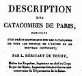Héricart de Thury Description des Catacombes de Paris 1815.jpg