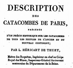 Louis-Étienne Héricart de Thury - Title page of the book Description des catacombes de Paris (Description of Paris catacombs) published in 1815 by Héricart de Thury.