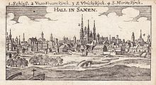 Halle, copper engraving, 1686 (Source: Wikimedia)