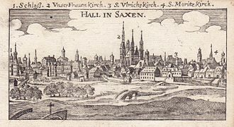 Halle, copper engraving, 1686 HALL IN SAXEN - Der getreue Reiss-Gefert... - 1686.JPG