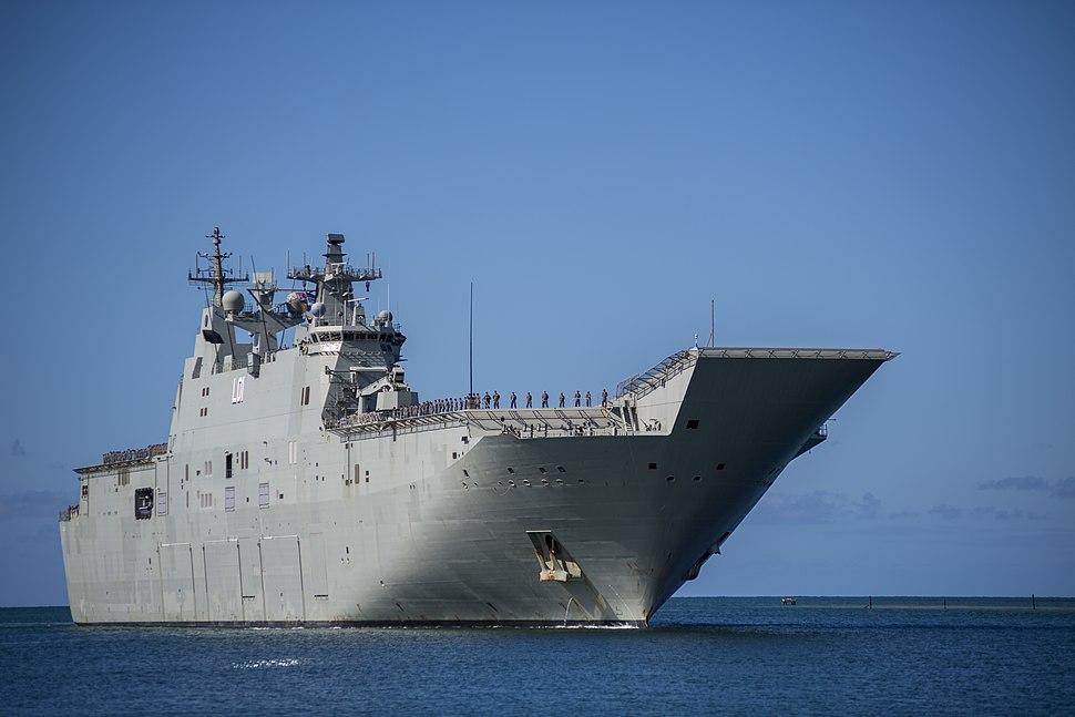 HMAS Adelaide arriving at Pearl Harbor in June 2018