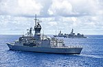 HMAS Parramatta with Japanese warships in May 2019.jpg