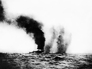 HMS Birmingham (1913) - Birmingham under fire at the Battle of Jutland