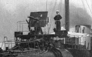 QF 12-pounder 12 cwt naval gun - As first mounted on 27-knot destroyers from 1894, here seen on HMS ''Daring''