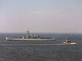 Leander-class frigate - Phoebe, an Exocet conversion, in 1990