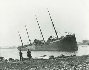 Halifax Explosion - SS Imo aground on the Dartmouth side of the harbour after the explosion