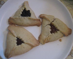 3 Hamantashen. At top: Poppy seed. Bottom left...