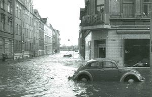 North Sea flood of 1962 - Flooded streets in Hamburg-Wilhelmsburg