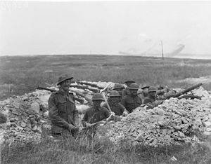 Australian and American troops dug in together during the Battle of Hamel