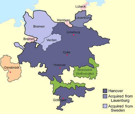 Sketch map of the Duchy of Brunswick-Luneburg including the Hanover electorate (blue) and the Principality of Brunswick-Wolfenbuttel (green), c. 1720: Elector George I Louis acquired Saxe-Lauenburg and Bremen-Verden, his successor George II Augustus gained Land Hadeln (1731, in the map the bulk of the beige tip at the Elbe estuary) and George III acquired the Prince-Bishopric of Osnabruck (1803) Hanover1720.png