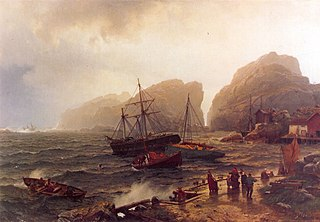 <i>Nødhavn Ved Norskekysten</i> painting by Hans Gude