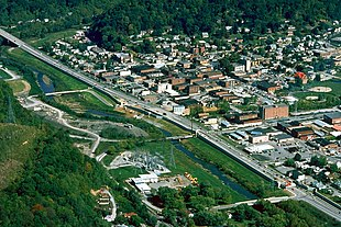 Aerial view of Harlan, Kentucky. View is to the northeast across the Martins Fork River