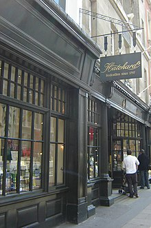Side-angle view of the front of Hatchards bookshop on Piccadilly