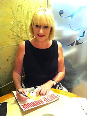 Hattie Hayridge - Hayridge signing autographs in 2014