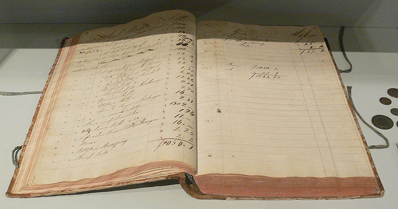 Ledger from a German general store, 1828.