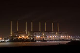 Hazelwood Power Station - Hazelwood Power Station seen at night, 2016.
