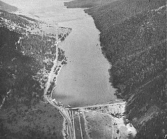 Hebgen Dam - The damaged Hebgen Dam in 1959