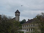 Helicopter over Mace tower of Buda Castle. - Budapest District I.JPG