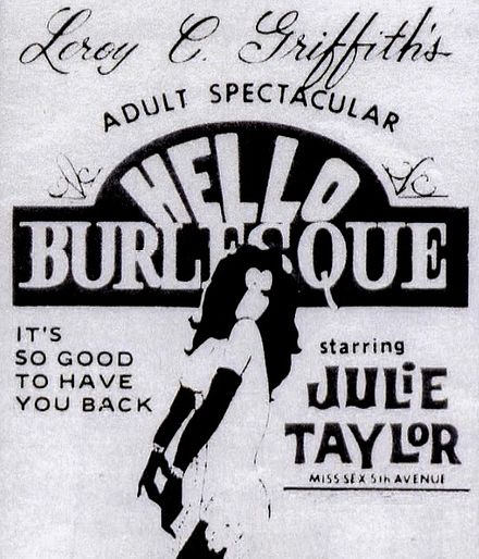 A promotional poster for Griffith's '60s Broadway revue, Hello Burlesque. Hello burlesque.jpg