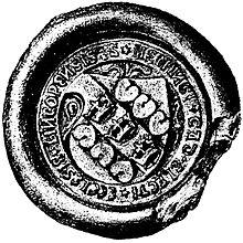 Hemming Gadhs segl, med blandt andet de søblade som forekom i Stureättens våben