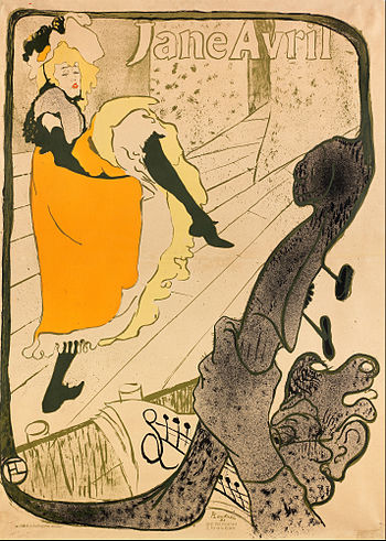 """Jane Avril"", Henri de Toulouse-Lautrec. Example of can-can dancing"