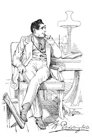 Henry Piddington - A portrait sketch by Colesworthey Grant published in 1839 in the India Review