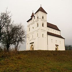 Romanesque Lutheran church in Herina village, formerly part of a Benedictine abbey
