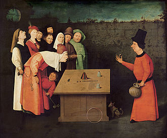 Magic (illusion) - The Conjurer, 1475–1480, by Hieronymus Bosch or his workshop. Notice how the man in the back row steals another man's purse while applying misdirection by looking at the sky.  The artist even misdirects the viewer from the thief by drawing the viewer to the magician.