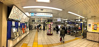 Higashi-ginza Station - Station ticket gates and ticket machines, 2018.