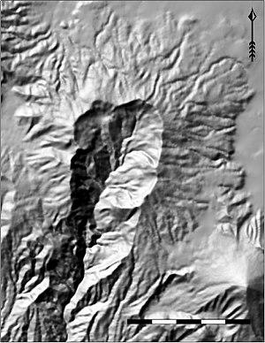 Volcán Siete Orejas - Image: Hillshade Map of Volcan Siete Orejas