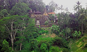 This is a hindu temple into the rainforest in ...