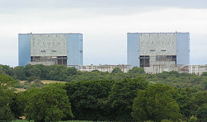 Hinkley Point A nuclear power station - Hinkley Point A twin buildings housing the Magnox reactors