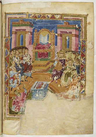 First Council of Constantinople - 9th century Byzantine manuscript illumination of I Constantinople. Homilies of St. Gregory of Nazianzus, 879-883.