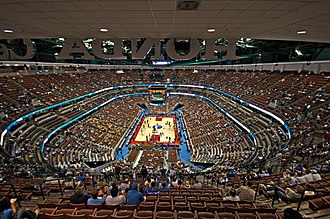 Honda Center - Honda Center in its basketball configuration before an NCAA basketball game.