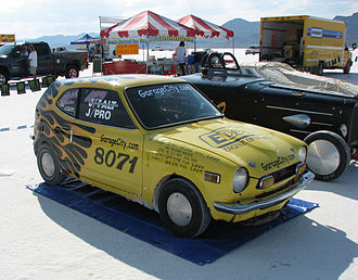 Honda Z - 1971 Honda Z600 Evil Tweety at the Bonneville Salt Flats for Speed Week 2009.