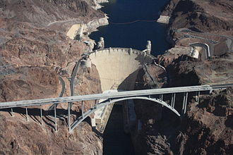 Las Vegas Valley - Lake Mead shown behind Hoover Dam on the Colorado River.