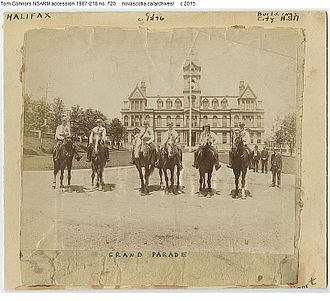 Halifax City Hall - Horsemen on the Grand Parade, 1887.