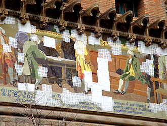 Architectural conservation - Conservation patches on mosaics wall of Hospital de la Santa Creu I Sant Pau (Barcelona)