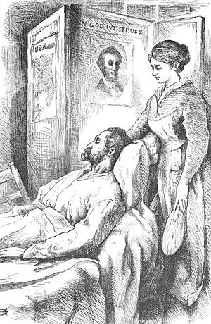 Hospital Sketches - Illustration of John, a Virginia blacksmith, from a later edition of Hospital Sketches