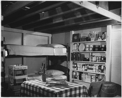 How to build a fallout shelter - Attractive interior of basement family fallout shelter includes a 14-day shelter... - NARA - 542105.tif